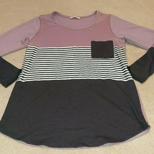Purple & gray long sleeve tee